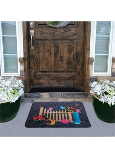 Giz Home Giz Home Boyalı Megan 40X60 Bahçe Baskılı Renkli Kapı Paspası Renkli